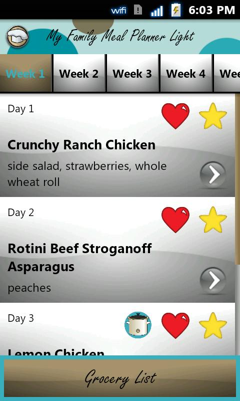 My Family Meal Planner Light - screenshot