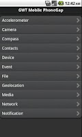 Screenshot of GWT Mobile PhoneGap Showcase