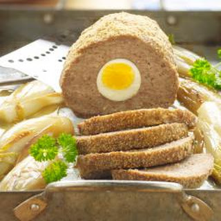 Meatloaf with Hard Cooked Egg and Mushroom Sauce