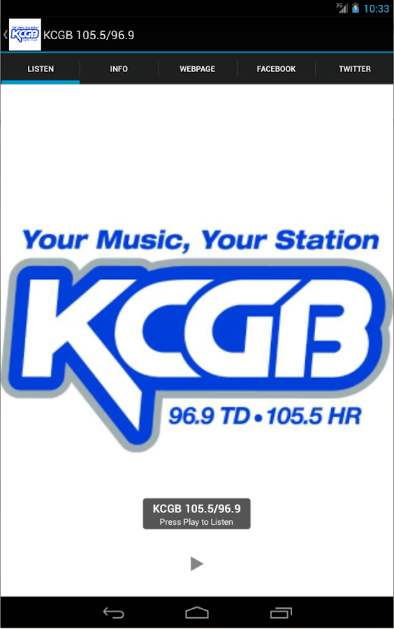 KCGB 105.5/96.9- screenshot