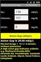Screenshot of Clinical Lab ( Anion Gap )