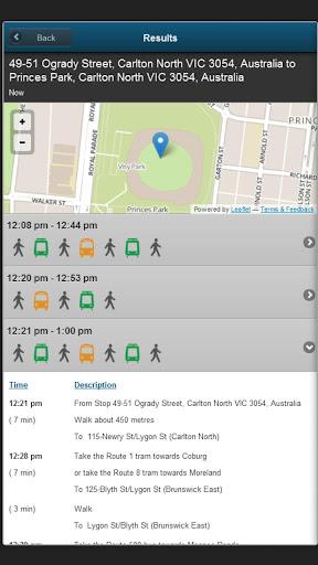 Melbourne Transport results screen