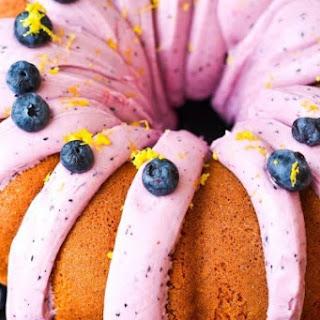 Lemon Velvet Bundt Cake with Blueberry Cream Cheese Frosting