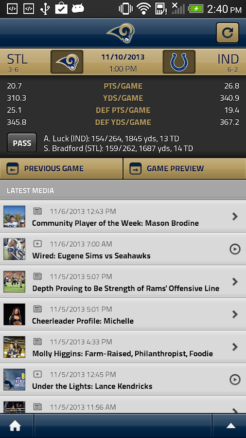 St. Louis Rams Official Mobile - screenshot