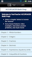 Screenshot of ACCUPLACER