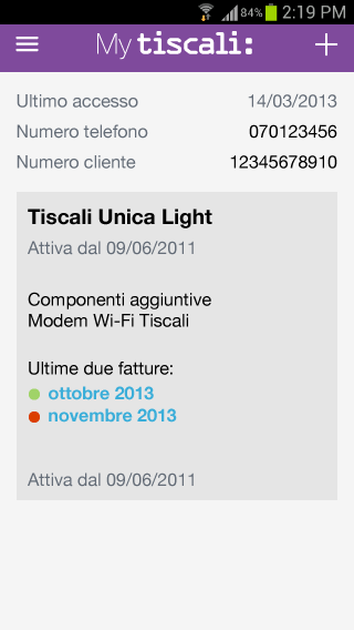 MyTiscali - screenshot