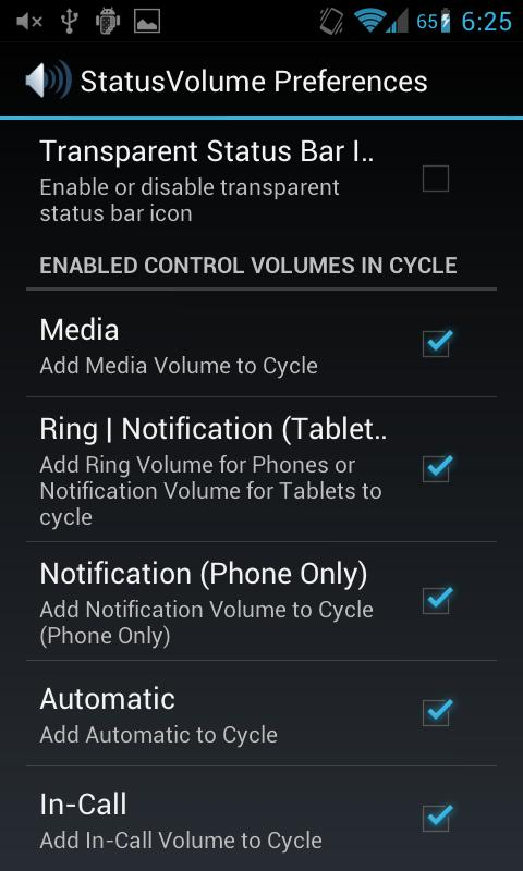 Status Bar Volume Panel Plus- screenshot