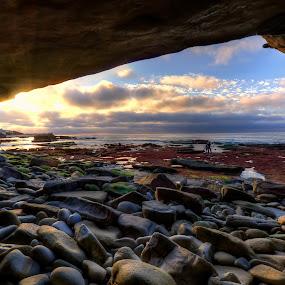 Low Tide In La Jolla by Eddie Yerkish - Landscapes Beaches ( marine, water, clouds, sand, hdr, waterscape, california, seascape, beach, landscape, sun, san diego, sky, life, nature, sunset, ocean waves, tide, wet, nikon, surf, low, la jolla, rocks )