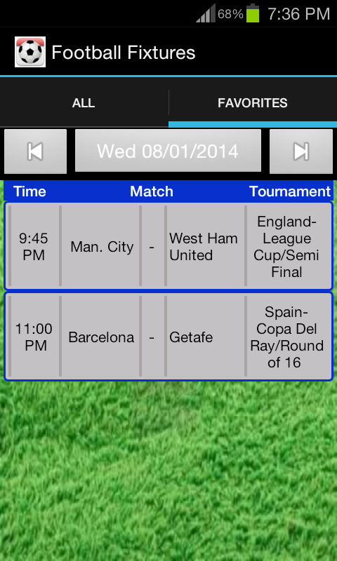 results for football matches today
