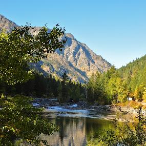 Wenatchee River by Loren Masseth - Landscapes Mountains & Hills ( reflection, washington state, mountain, poster, nature rural, trees, wenatchee river, landscape, river )