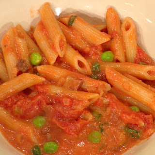 Penne alla Vodka with Prosciutto and Peas.