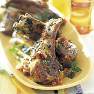 Barbecued Rack of Lamb with Tomato-Mint Dressing
