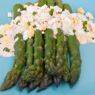 Asparagus with Dijon Mustard Sauce and Chopped Hard Boiled Egg