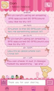 GO SMS Pro Pink Sweet theme- screenshot thumbnail