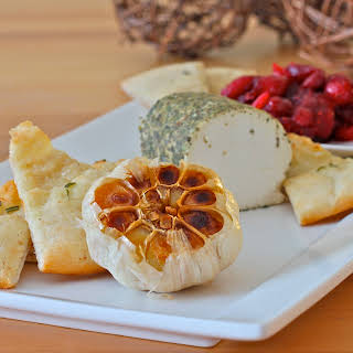 Goat Cheese, Roasted Garlic, Cranberry Compote Appetizer.