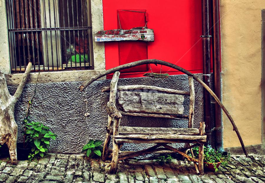 Bench in oldtown by Marko Perak - City,  Street & Park  Street Scenes ( oldtown, bench, croatia, oldbench, town, public, furniture, object )