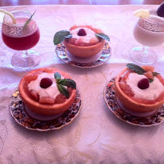 Gingered Grapefruit Baskets Filled with Coconut-Lime Cream and Two Virgin Cocktails..