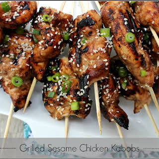 Grilled Sesame Chicken Kabobs | healthier version of our favorite Chinese Take-Out.