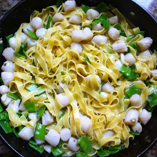 Noodles with Bay Scallops, Snow Peas, and Ginger Sauce.