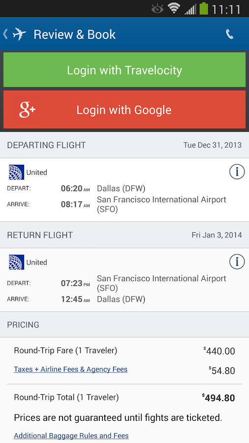Travelocity - Flight+Hotel+Car - screenshot