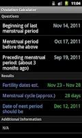 Screenshot of Ovulation Calculator