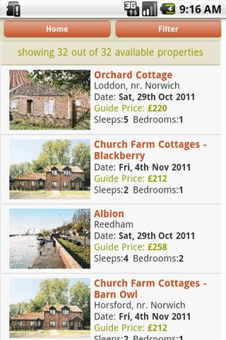 Cottage Availability Search - screenshot
