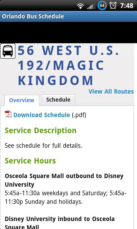 Orlando Bus Schedule- screenshot
