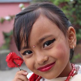 red as rose by Raj Tandukar - Babies & Children Child Portraits ( dress, nepali, newari )