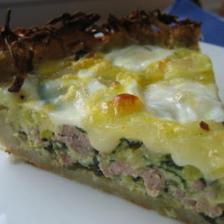 Potato Crusted Sausage, Leek and Spinach Quiche