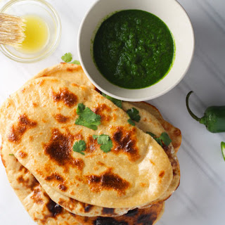 Homemade Naan with Mint Cilantro Chutney Recipe