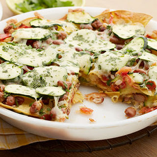 Microwave Mexican Layered Bean Casserole.