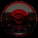 Black Red analog clock widget icon
