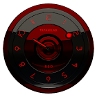 Black Red analog clock widget icon