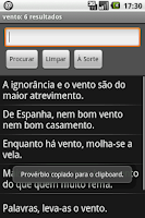 Screenshot of Provérbios Portugueses
