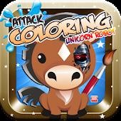 Robot Attack Coloring Unicorn