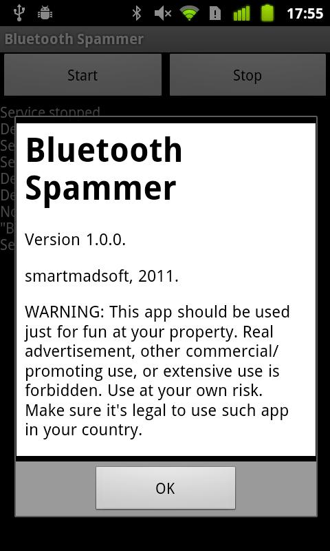 Bluetooth Spammer - screenshot