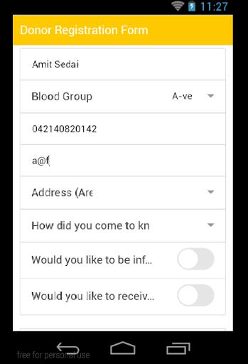 Blood Donor Registration Form