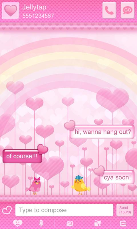 ♥ Cute Birds Love Theme SMS  ♥- screenshot