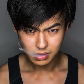 killer by Mor Wei Huat - People Portraits of Men ( low key, men, handsome, portrait, smoke )