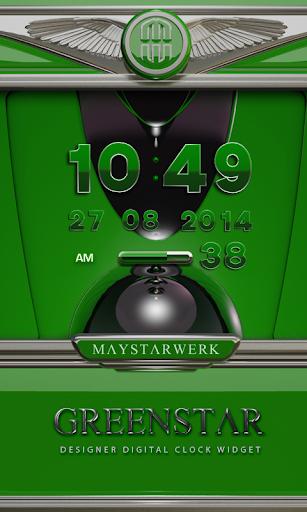 Digi Clock Widget Green Star