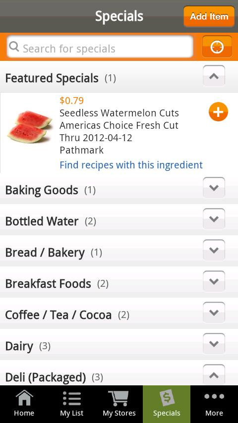 Shopping List from Recipe.com - screenshot