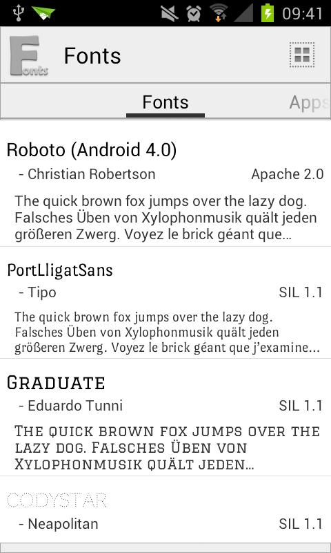 Fonts - screenshot