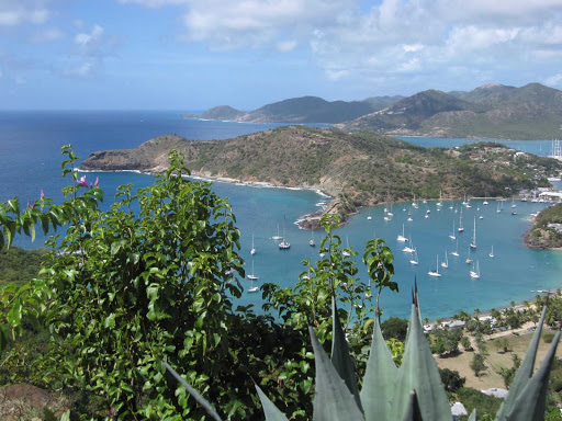 Antigua-bay - Overlooking a harbor in Antigua in the Caribbean.