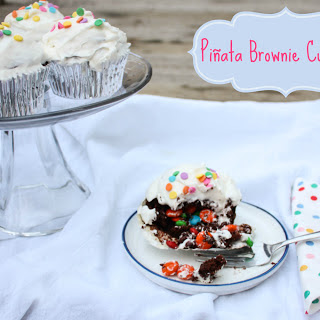 Piñata Brownie Cupcakes - Surprise Inside Cupcakes
