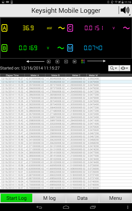 Keysight Mobile Logger - screenshot