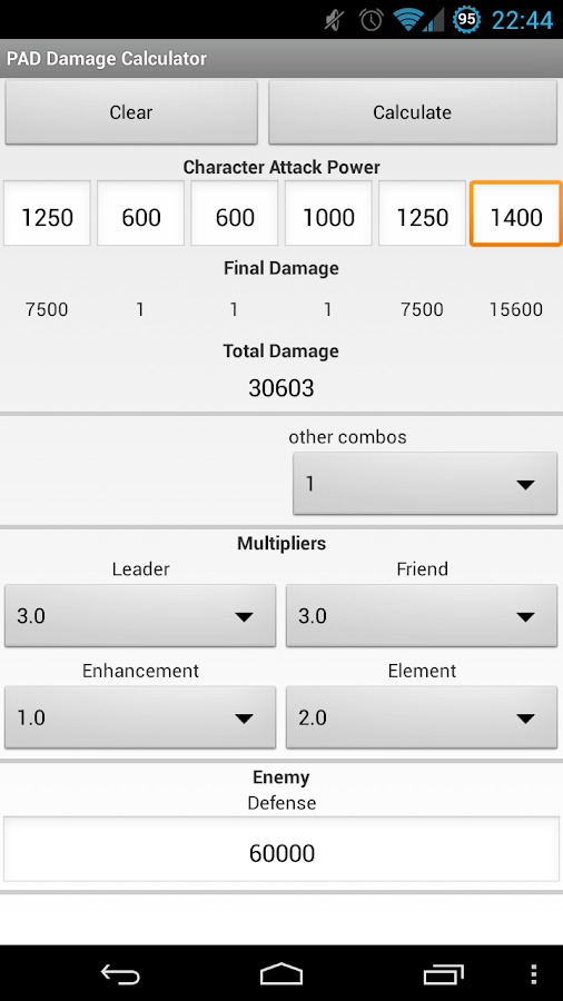 PAD Combo Damage Calculator - screenshot