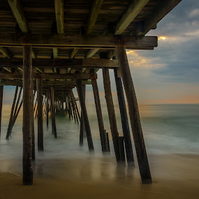 by Tony Cox - Buildings & Architecture Bridges & Suspended Structures ( , Beach, sunset, blue, water, ocean.  )