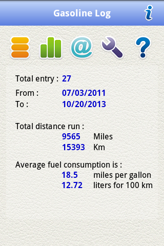 Gasoline Log - screenshot