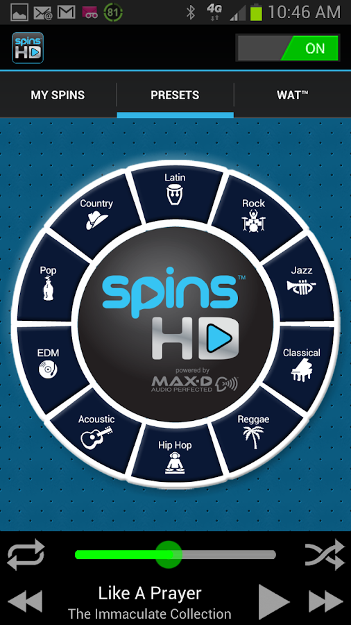 SPINS HD AUDIO - screenshot