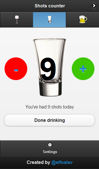 Drink counter- screenshot